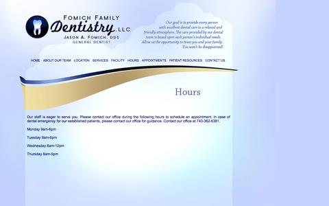 Screenshot of Hours Page fomichdds.com - Fomich Family Dentistry - Delaware, OH - Fomich Family Dentistry Hours of Operation - captured Oct. 6, 2014