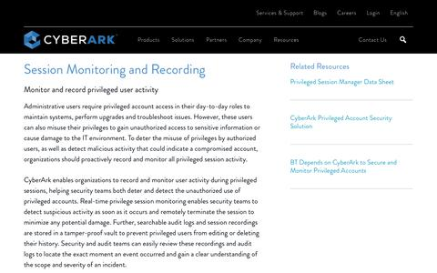 User Session Monitoring & Recording Solutions - CyberArk
