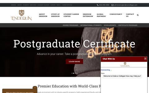 Screenshot of Home Page enderuncolleges.com - Enderun Colleges | Redefining Higher Education - captured July 19, 2018