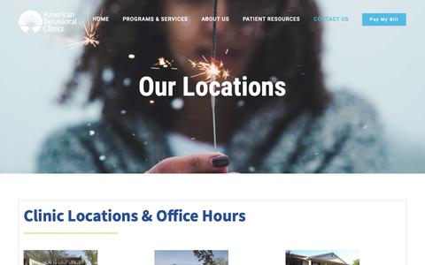 Screenshot of Contact Page Locations Page americanbehavioralclinics.com - Clinic Locations & Hours • 5 in Metro Milwaukee | American Behavioral Clinics - captured Nov. 6, 2018