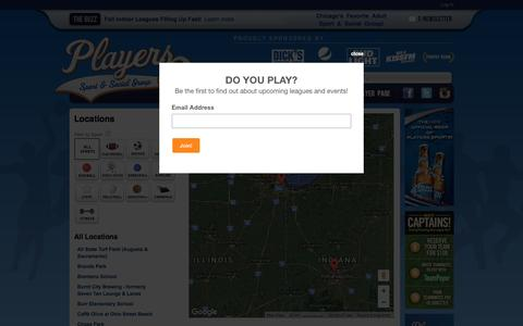 Screenshot of Locations Page playerssports.net - Locations: Players Sport & Social Group - Chicago, IL - captured Nov. 8, 2016