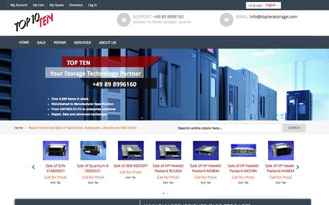 Screenshot of Home Page toptenstorage.co.uk - Repair Service and Sale of Tape Drives, Autoloader, Libraries and MO Drives - captured Oct. 7, 2014