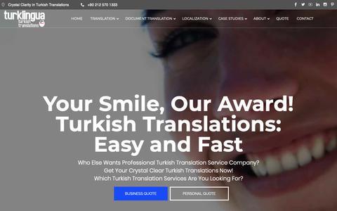 Screenshot of Home Page turklingua.com - Turkish Translation Service Company: Professional, Fast and Easy   Turkish Translation Service Company for Businesses & Individuals, Professional, Fast and Easy - captured Oct. 19, 2018