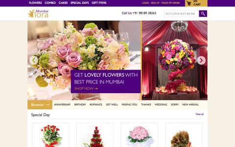 Screenshot of Home Page mumbaiflora.in - Send Flowers to Mumbai, Florist in Mumbai, Cakes Delivery Online - captured Oct. 7, 2014