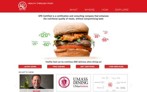 Screenshot of Home Page Site Map Page specertified.com - SPE Certified | Health Through Food | Foodservice Consulting - captured Sept. 30, 2014