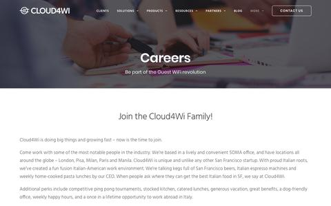 Screenshot of Jobs Page cloud4wi.com - Cloud4Wi - Careers - Come join the team! - captured Oct. 26, 2017