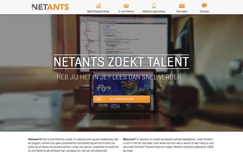 Screenshot of Home Page netants.nl - NetAnts - Maatwerk webbased applicaties - captured Jan. 11, 2016
