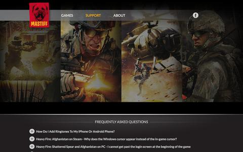 Screenshot of Support Page mastiff-games.com - Mastiff - captured Feb. 4, 2016