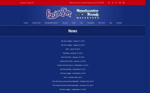 Screenshot of Press Page casinopiernj.com - News › Casino Pier | Breakwater Beach ‹ Casino Pier | Breakwater Beach - captured Oct. 2, 2014