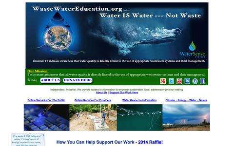 Screenshot of Landing Page wastewatereducation.org - WasteWater Education Support, Donate, Sponsor, Underwrite Our Work - captured Oct. 27, 2014