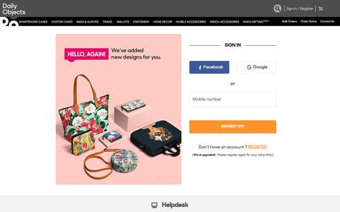 Screenshot of Login Page dailyobjects.com - Online Shopping for Designer & Custom Mobile Cases, Covers & Personal Accessories - DailyObjects - captured Aug. 13, 2019
