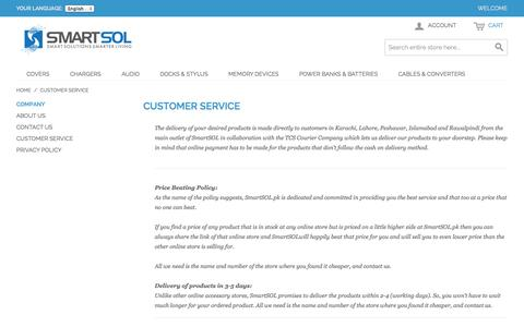 Screenshot of Support Page smartsol.pk - Customer Service - captured Nov. 3, 2014