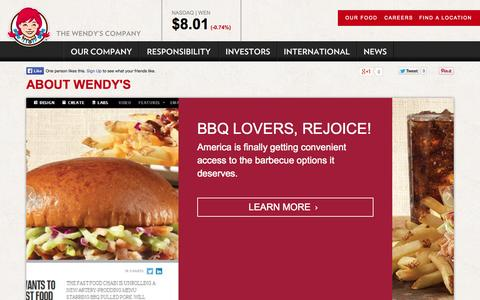 Screenshot of About Page wendys.com - About Wendy's - captured Oct. 29, 2014