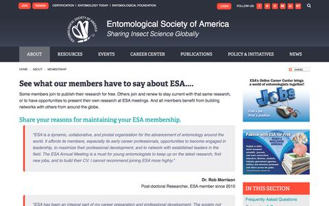Screenshot of Testimonials Page entsoc.org - See what our members have to say about ESA.... | Entomological Society of America - captured Nov. 8, 2016
