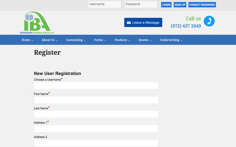 Screenshot of Signup Page ibatx.com - Register – IBATX - captured Feb. 11, 2016