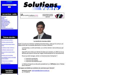 Screenshot of Home Page solutions-vente.org - Solutions Vente - Conseils et stratégie, le 17/10/2015 - captured Oct. 16, 2015