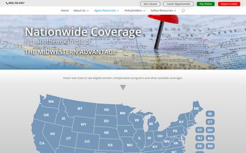 Screenshot of Maps & Directions Page midwesterninsurance.com - Coverage Map | Midwestern Insurance Alliance - captured Dec. 17, 2018