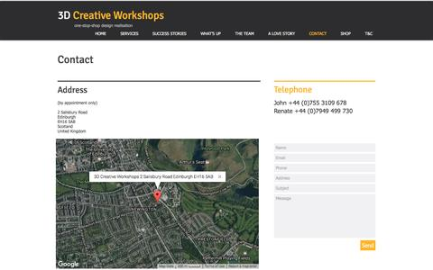 Screenshot of Contact Page 3dcreativeworkshops.co.uk - Contact 3D Creative Workshops, Edinburgh, Scotland, 3D Design Agency - captured Dec. 22, 2016