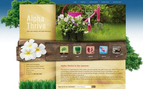 Screenshot of Home Page usethrive.com - Alpha THRIVE- Organic products for a healthy life, lawn and planet. - captured Oct. 4, 2014
