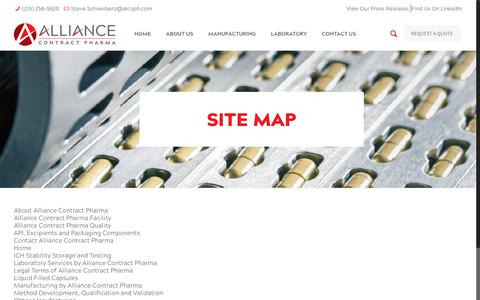 Screenshot of Site Map Page alcoph.com - Site Map   Alliance Contract Pharma - captured Oct. 3, 2018