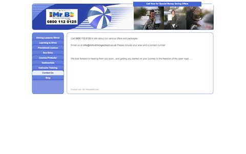 Screenshot of Contact Page mrb-drivingschool.co.uk - Contact Us - Driving Lessons Wirral - Wirral Driving School. Call 0800 112 0125 NOW - captured Oct. 26, 2014