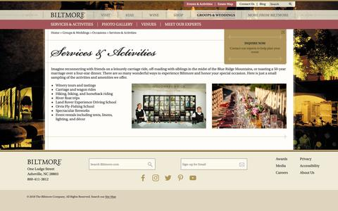 Screenshot of Services Page biltmore.com - Private Entertaining Services | Biltmore - captured Oct. 18, 2018