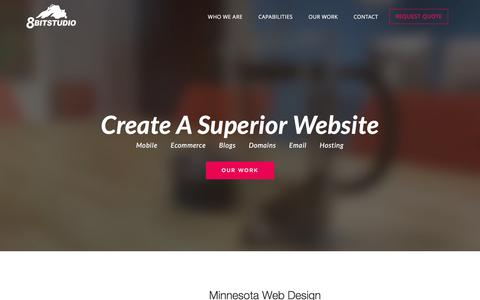 Screenshot of Home Page 8bitstudio.com - 8bitstudio - Website Design Minneapolis, MN - captured Feb. 13, 2016