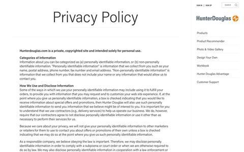 Privacy Policy  | Hunter Douglas