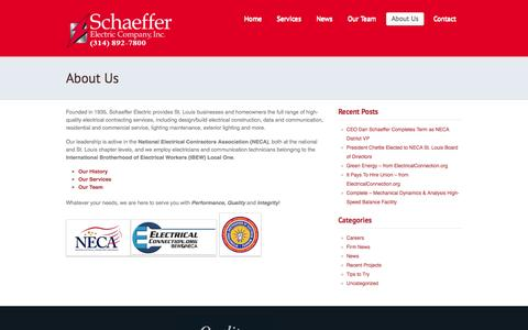 Screenshot of About Page schaefferelectric.com - Schaeffer Electric: St. Louis Electrical Services  |  About Us - captured Oct. 4, 2014