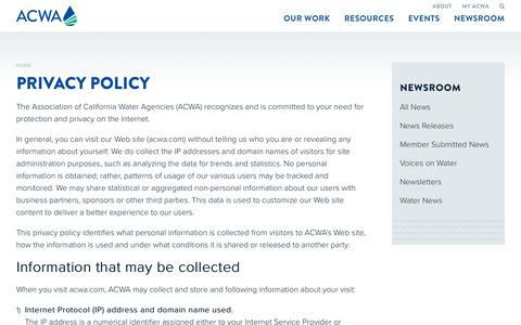 Screenshot of Privacy Page acwa.com - Privacy Policy - Association of California Water Agencies - captured Oct. 9, 2017