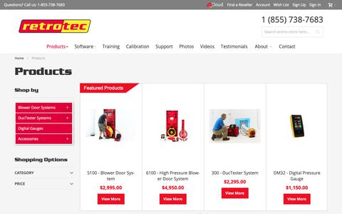 Screenshot of Products Page retrotec.com - Blower Doors | Duct Testing Equipment | Pressure Gauges - captured Oct. 18, 2018