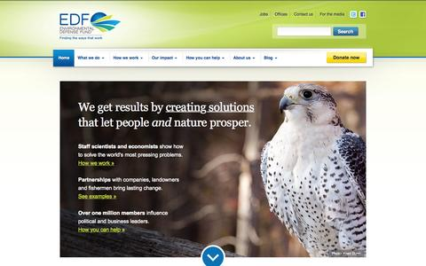 Screenshot of Home Page edf.org - Environmental Defense Fund - captured Oct. 18, 2015