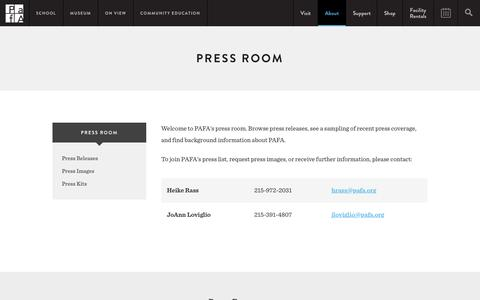 Screenshot of Press Page pafa.org - Press Room | PAFA - Pennsylvania Academy of the Fine Arts - captured Jan. 18, 2016