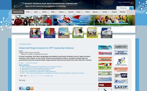 Screenshot of Home Page bppt.go.id - Halaman Muka - BADAN PENGKAJIAN DAN PENERAPAN TEKNOLOGI - captured Sept. 19, 2014