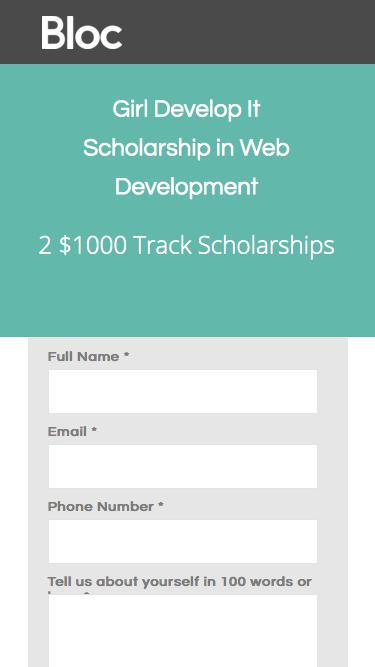 Bloc | Girl Develop It Coding Bootcamp Scholarship