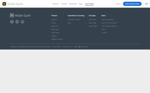 Screenshot of Pricing Page adobe.com - Pricing | Adobe Spark - captured Oct. 20, 2017