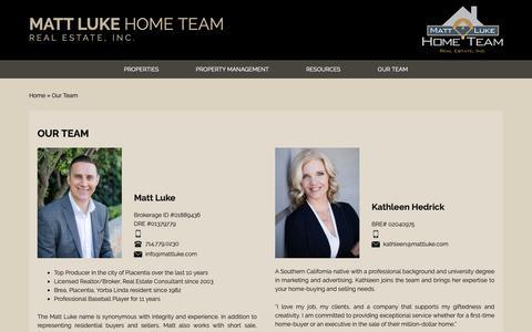 Screenshot of Team Page mattluke.com - Our Team - Matt Luke Home Team - captured Oct. 1, 2018