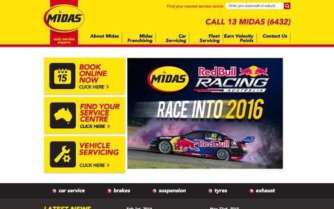 Screenshot of Home Page midas.com.au - Midas - Car Service   Brake Service   Auto Service   Exhaust   Suspension - captured Feb. 13, 2016