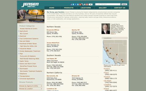 Screenshot of Contact Page Locations Page jensenprecast.com - Jensen Precast - Locations - captured Oct. 25, 2014