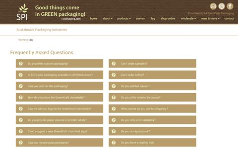 Screenshot of FAQ Page s-packaging.com - FAQ   Sustainable Packaging Industries - captured Oct. 7, 2014