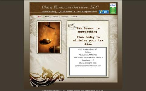Screenshot of Home Page clark-financial-services.com - Clark Financial Services, LLC   Accounting, QuickBooks & Tax Preparation - captured Sept. 19, 2015