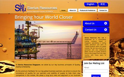 Screenshot of Home Page sierius.com.sg - Sierius Resources - captured Oct. 7, 2014