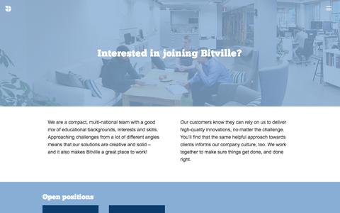 Screenshot of Jobs Page bitville.fi - Bitville - Software with ease, Nimble design and visualisation, AI solutions and Digital and blended learning solutions - captured Oct. 10, 2017