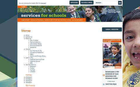 Screenshot of Site Map Page hackneyservicesforschools.co.uk captured Oct. 1, 2014