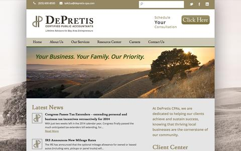 Screenshot of Home Page depretis-cpa.com - East Bay and Pleasanton CPA |Tax Services | Business Solutions | - captured Jan. 23, 2015