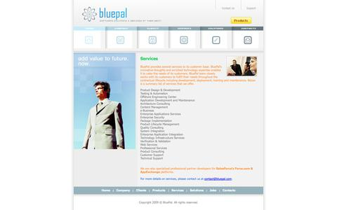 Screenshot of Services Page bluepal.com - BluePal - Services - captured Sept. 30, 2014