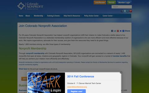 Screenshot of Signup Page coloradononprofits.org - Join Colorado Nonprofit Association - Colorado Nonprofit Association - captured Sept. 22, 2014