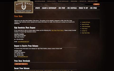 Screenshot of Press Page highwest.com - Press Room |  Media Kit | High West | American Craft Whiskey | - captured Oct. 2, 2014