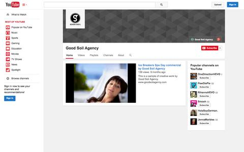 Screenshot of YouTube Page youtube.com - Good Soil Agency  - YouTube - captured Oct. 22, 2014