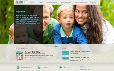 Screenshot of Home Page Privacy Page everettlabs.com - Home | Everett Laboratories Inc. - captured Oct. 3, 2014